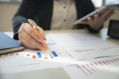 Bizneswomany patrzeje biznesowych map, wykresów i dokumentów tło dla analizować biznes, zdjęcia stock