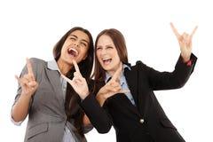 Bizneswomany robi rock and roll ręki gestowi Obrazy Stock