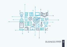 Biznesy integrujący ciency kreskowi symbole ilustracji