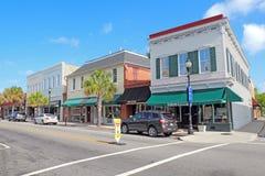 Biznesy na Podpalanej ulicie w w centrum Beaufort, Południowa Karolina zdjęcia royalty free