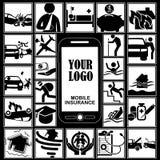Biznesy na ubezpieczeniu na smartphone royalty ilustracja