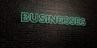 BIZNESY - Realistyczny Neonowy znak na ściana z cegieł tle - 3D odpłacający się królewskość bezpłatny akcyjny wizerunek ilustracji