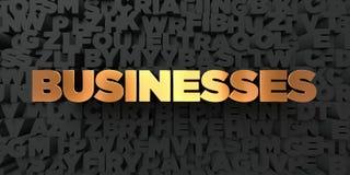 Biznesy - Złocisty tekst na czarnym tle - 3D odpłacający się królewskość bezpłatny akcyjny obrazek royalty ilustracja