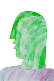 Bizzare painting in watercolour of a human head- illustration Royalty Free Stock Images