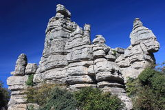 Bizzare rock formation at Sierra de Torcal Royalty Free Stock Photo