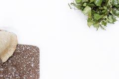 Björkkvast och hatt av filt på snön Arkivbilder