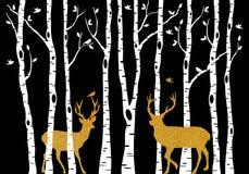 Björkträd med guld- jul hjortar, vektor royaltyfri illustrationer