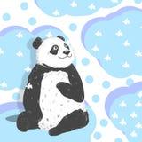 Björn för djurt för illustration för teckning för konst för drömmarepandagem rolig svart gulligt djurt för hälsning för födelseda royaltyfri illustrationer