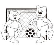 Björn-fotboll - färgläggningbok Fotografering för Bildbyråer