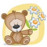 Björn med blommor Royaltyfri Bild