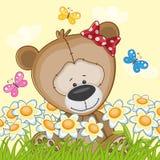 Björn med blommor Royaltyfria Bilder