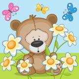 Björn med blommor vektor illustrationer