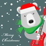 Björn med en elektrisk gitarr stock illustrationer