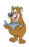 Björn med en fisk Fotografering för Bildbyråer