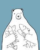 Björn med fiskar Arkivfoto