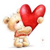Björn med hjärta Arkivfoto