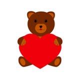 Björn med hjärta på en vit bakgrund Arkivbild