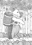 Björn med korgen av bast Royaltyfri Illustrationer