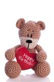 Björn med kudden för hjärta för lycklig födelsedag för hjärta Royaltyfria Bilder