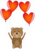 Björn med röda hjärtaballonger Royaltyfri Bild