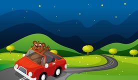 Björn och bil stock illustrationer