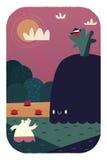 Björn och val på stranden vektor illustrationer