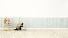 Björn på gungstol och katten som spelar med cowfish--3Dtolkningen Arkivfoto