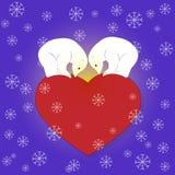 Björn-på--hjärta Stock Illustrationer