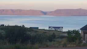 Björn sjö på solnedgången Arkivfoto