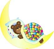 Björn som sover på månen royaltyfria foton