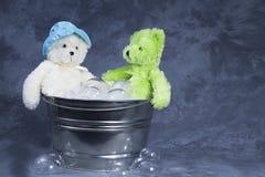 björnar badar två Arkivfoton