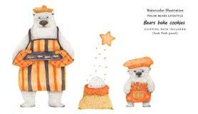 Björnar bakar sockerkakor, närbildillustration royaltyfri illustrationer