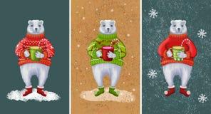 Björnar för nytt år och jul royaltyfri illustrationer