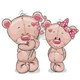björnar två stock illustrationer