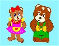 björnar två Arkivfoton