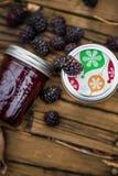 Björnbär med Blackberry driftstopp i flaskor Royaltyfri Bild