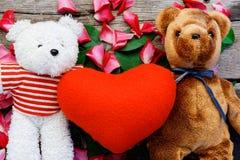 Björndockan för två leksak har att falla som är förälskat med rosa kronbladbakgrund royaltyfri foto