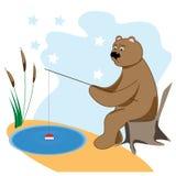 Björnen fångar en fisk Royaltyfria Bilder
