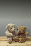 Björnen för nalle två sitter på den trätabellen royaltyfri foto