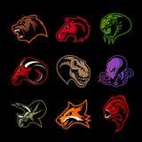 Björnen hästen, ormen, RAM, räven, piranhaen, dinosaurien, bläckfiskhuvud isolerade vektorlogobegrepp Royaltyfria Bilder