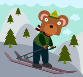 Björnen kan skida stock illustrationer