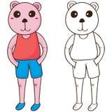 Björnen kyler färgläggning stock illustrationer