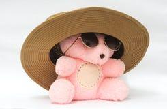Björnen med den rosa hatten och gulliga exponeringsglas, vit bakgrund, illustrationer, kan tillskrivas till andra arbeten royaltyfri fotografi