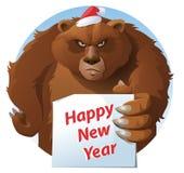 Björnen rymmer kortet för det lyckliga nya året Royaltyfria Bilder