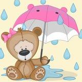 Björnflicka med paraplyet Fotografering för Bildbyråer