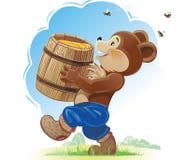 Björngröngöling och honung Arkivbilder