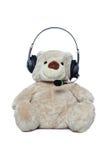björnhörlurar med mikrofon som isoleras över nallewhite Royaltyfria Foton