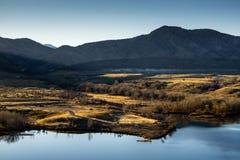 Björnliten vik sjön parkerar royaltyfri bild