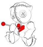 Bj?rn f?r voodoo f?r allhelgonaaftonfasaandlighet kelig, docka som punkteras av ben/tr?ngt igenom h?nga p? galgen ?versikter kont stock illustrationer