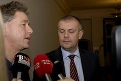 Bjarn Corydon财务大臣(R) Flemming Vinther CFU (L) 免版税库存图片